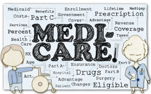 Drawing of Medicare with Stick Men and Clipping Path